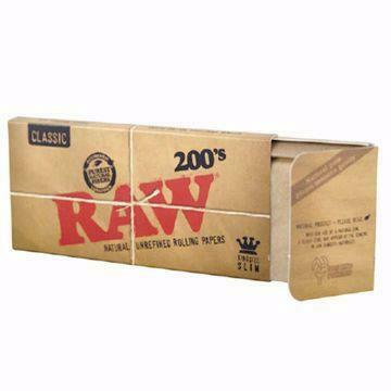 RAW CLASSIC KING SIZE SLIM 200's NATURAL UNREFINED ROLLING PAPERS