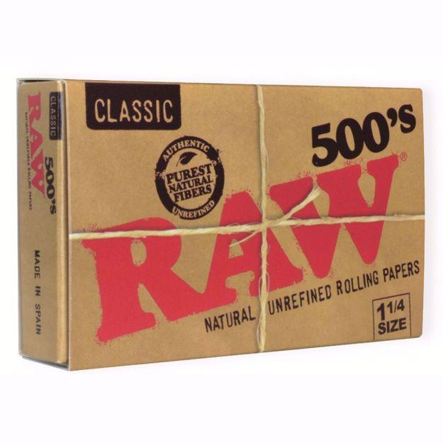 RAW CLASSIC 1 1/4 SIZE 500's NATURAL UNREFINED ROLLING PAPERS