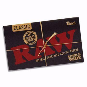 RAW BLACK SINGLEWIDE DOUBLE WINDOW NATURAL UNREFINED HEMP ROLLING PAPERS
