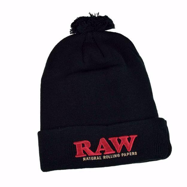 RAW POMPOM HAT BLACK