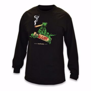 RAW SMOKING IGUANA BLACK LONG SLEEVE T-SHIRT