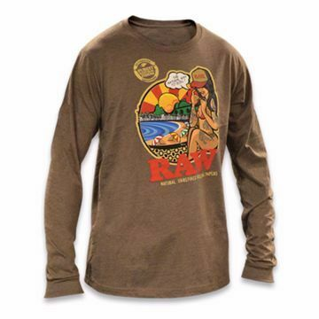 RAW BRAZIL MEN'S CHOCOLATE BROWN LONG SLEEVE T-SHIRT