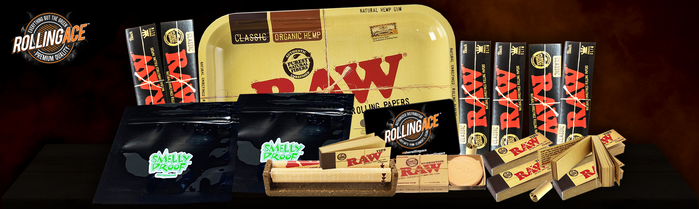 Raw King Size Black Bundle with Tray